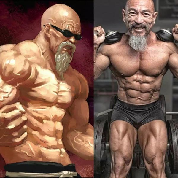 """越南大叔练成现实高配版""""龟仙人"""",肌肉围度碾压大部分健美选手!"""